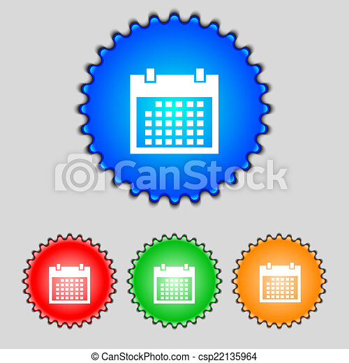 Calendar sign icon. days month symbol. Date button. Set colur buttons. Vector - csp22135964