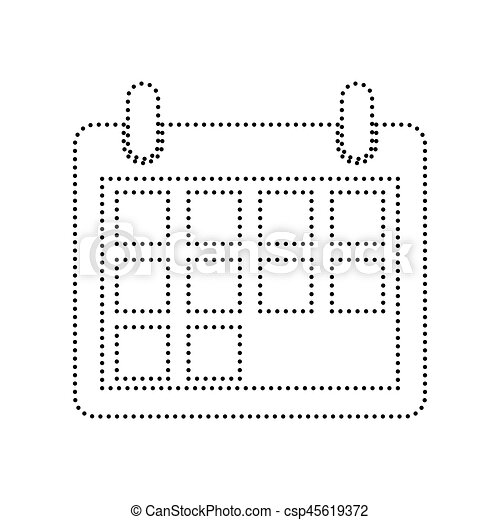 Calendar sign illustration. Vector. Black dotted icon on white background. Isolated. - csp45619372
