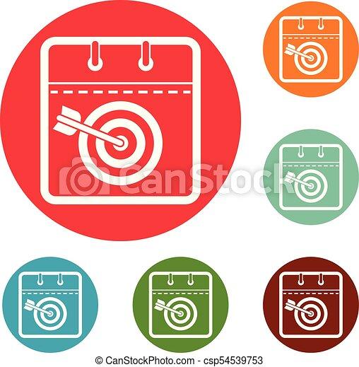 Calendar Target Icons Circle Set Vector