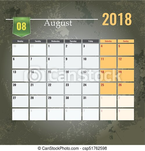 Calendar template for 2018 August month with Abstract grunge background