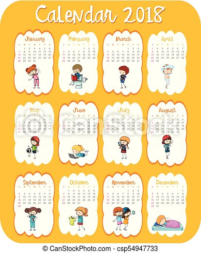 Calendar Template For 2018 With Kids Illustration Vectors Search