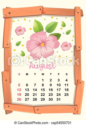 Calendar Template With Pink Flowers For August Illustration