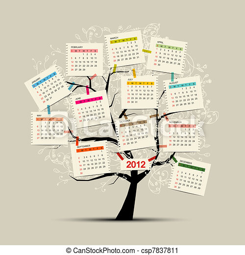 Calendar tree 2012 for your design - csp7837811