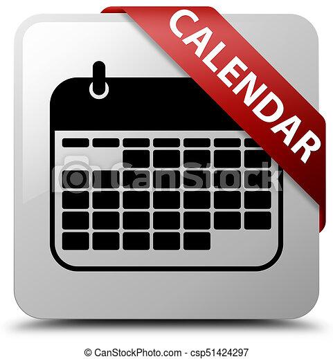 Calendar white square button red ribbon in corner - csp51424297