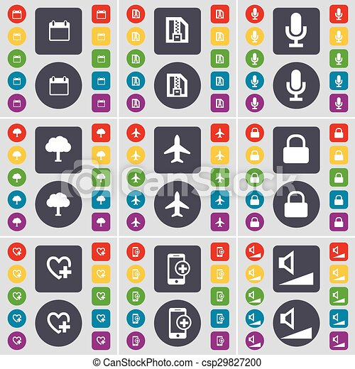 Calendar, ZIP file, Microphone, Tree, Airplane, Lock, Heart, Smartphone, Volume icon symbol. A large set of flat, colored buttons for your design. Vector - csp29827200