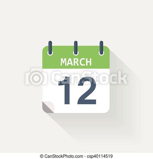 Cerca Calendario.Calendario 12 Marzo Icona