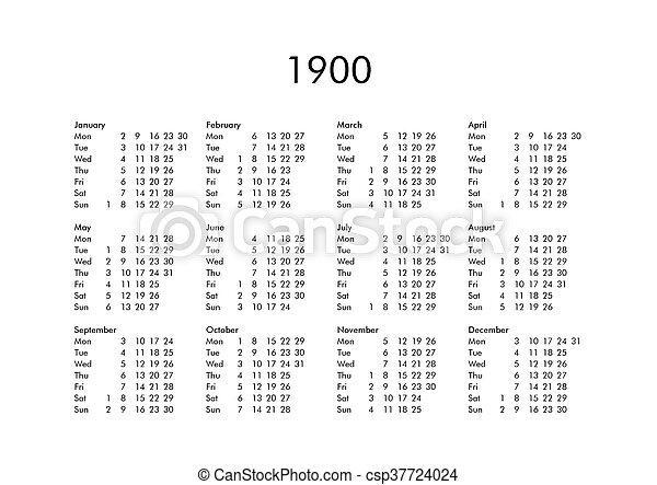Calendario 1900.Calendario 1900 Anno