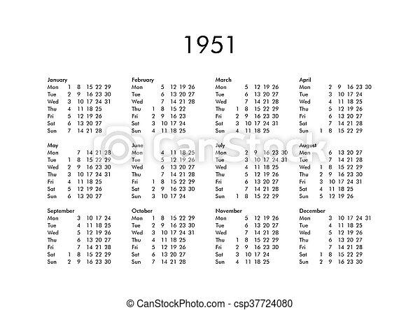 Calendario 1951.Calendario 1951 Ano