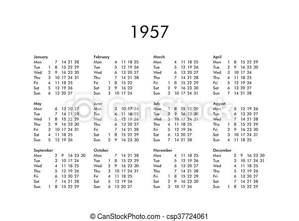 Calendario Del Ano 1957.Calendario 1957 Ano