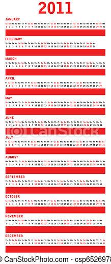 Calendario rojo para 2011 - csp6526978