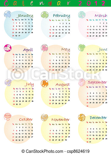 Calendario Zodiacal.Calendario 2012 Muestras Del Zodiaco