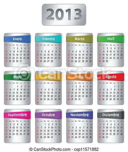 calendario, 2013, español - csp11571882