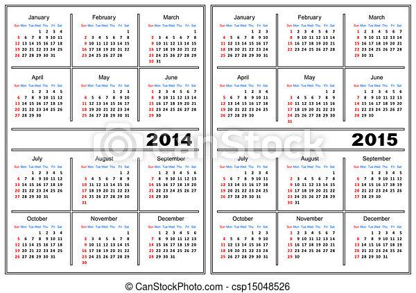 La plantilla del calendario. 2014,2015 - csp15048526