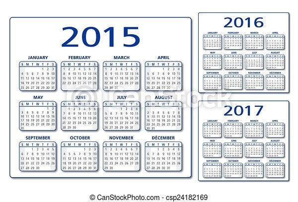 Calendario inglés 2015-2016-2017 Vec - csp24182169