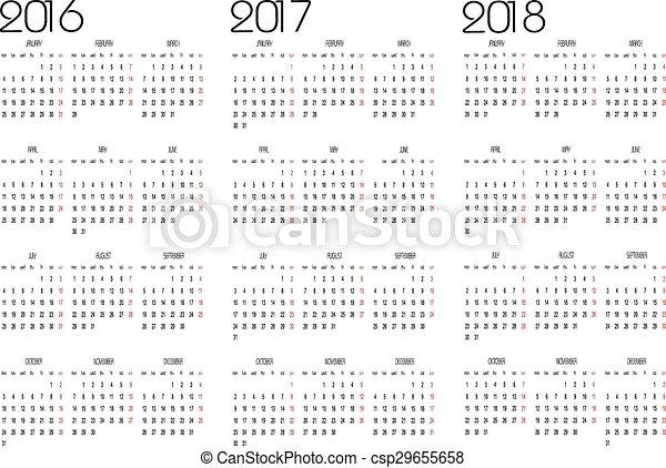 Calendario 2016, 2017 y 2018 - csp29655658