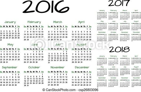 Calendario inglés 2016-2017-2018 - csp26803096