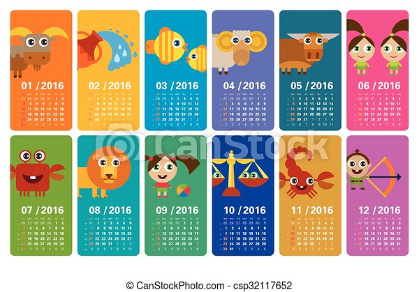 Calendario Zodiacal.Calendario 2016 Muestras Del Zodiaco