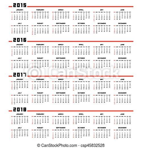 Calendario 2015, 2016, 2017, 2018 - csp45832528
