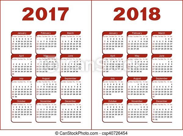 Calendario 2017 2018 Lettere Fondo 2017 Figure 2018 Nero Calendario Bianco Rosso Canstock