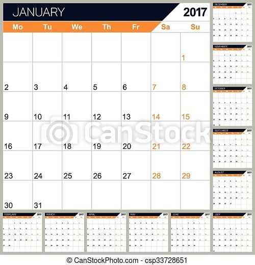 Calendario inglés 2017 - csp33728651