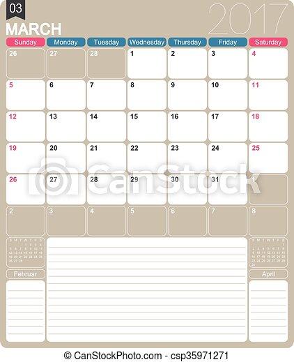 calendario, 2017, inglés - csp35971271