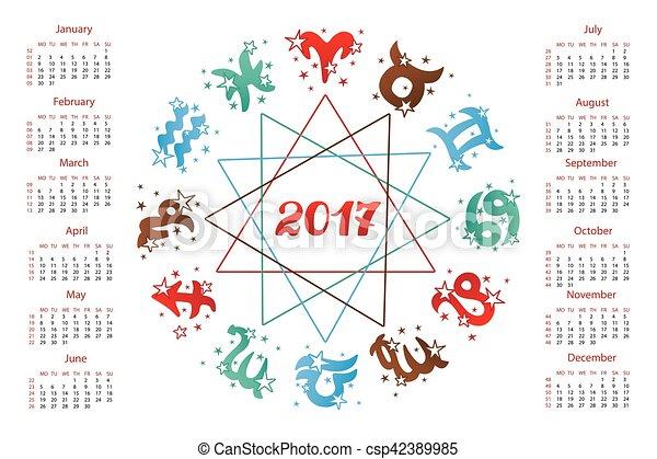 Calendario Zodiacale.Calendario 2017 Horoscope Zodiaco Segno