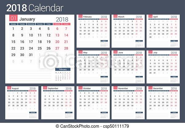 Calendario 2018 pagine 12 eps10 pianificatore for Capannone pianificatore di layout
