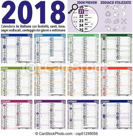 Calendario Zodiacal.Calendario 2018 Italiano