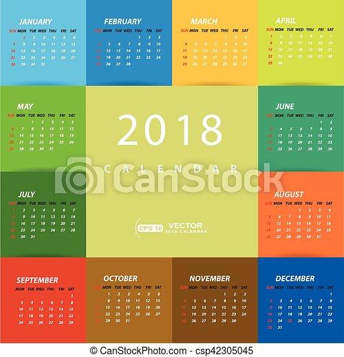 Calendario 2018 Plantilla Multicolor