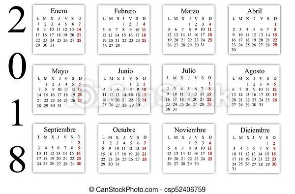 Calendario In Spagnolo.Calendario 2018 Spagnolo