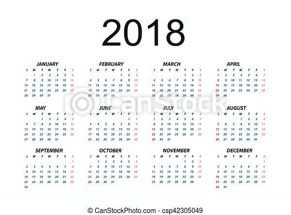 calendario, 2018 - csp42305049