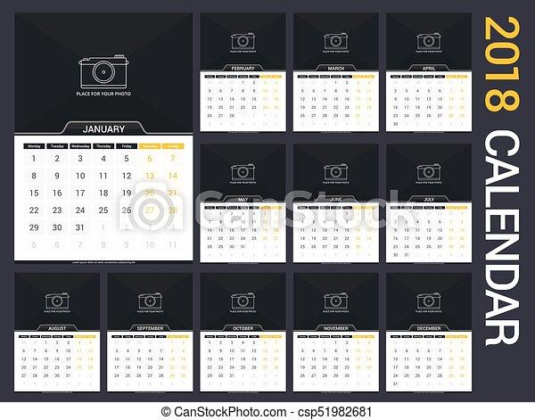 calendario, 2018 - csp51982681