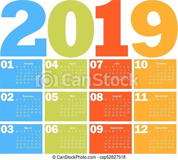 Calendario Dibujo 2019.Calendario 2019 Ano