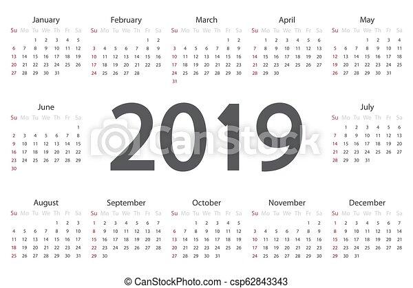 Calendario por 2019 años. - csp62843343