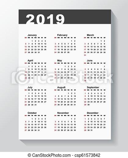 Calendar plantilla para 2019 años. - csp61573842