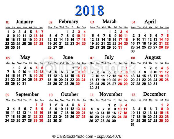 Calendario En Blanco.Calendario Blanco 2018 Plano De Fondo