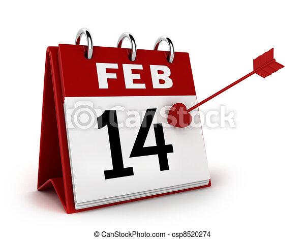 calendario, día, valentino - csp8520274