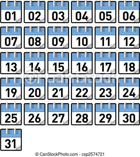 Calendario Dias Todos Generico 31 Calendarios Dias Mes Pequeno