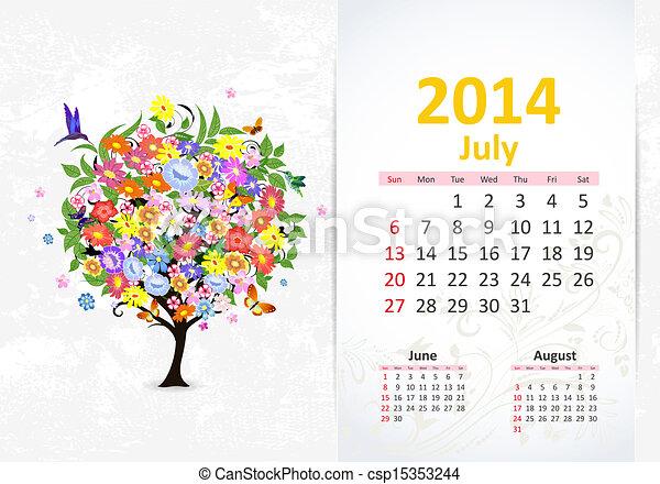 Calendario para 2014, julio - csp15353244
