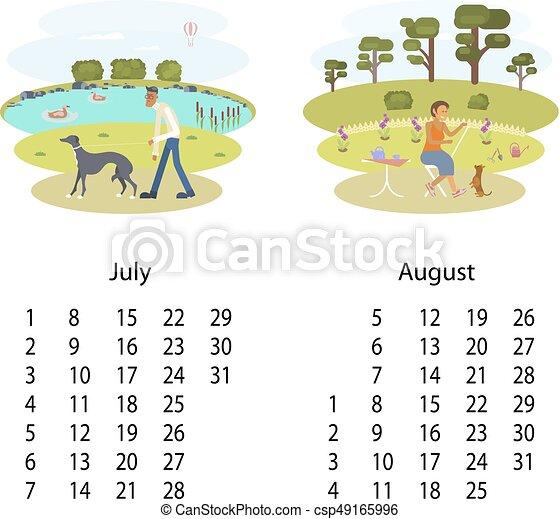 Calendario Luglio Agosto.Calendario Luglio Agosto 2018