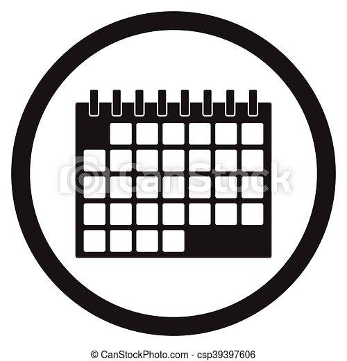 Calendario Dibujo Blanco Y Negro.Calendario Negro Blanco Icono
