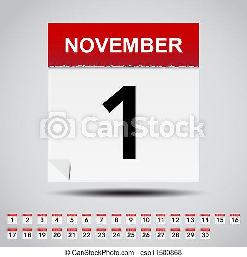 Calendario en papel blanco. - csp11580868