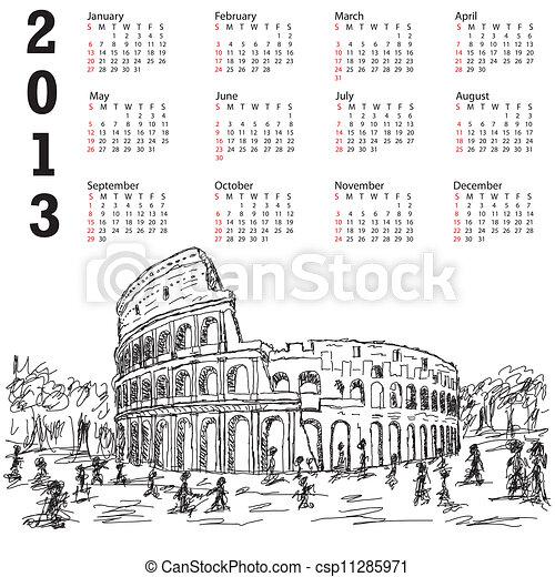 Calendario Roma Coliseo 2013 Destino Turista Italy Ncalendar