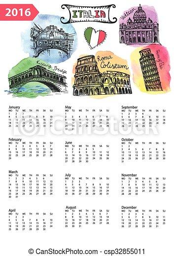 Calendario Panorama.Calendario Schizzo Italy Panorama Limiti