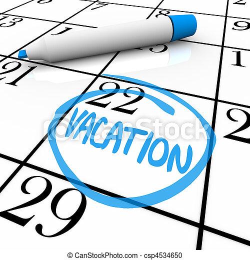 calendario, -, vacaciones, día, dar la vuelta - csp4534650