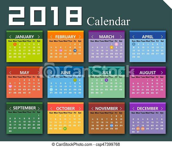Vector 2018 calendario de fondo - csp47399768