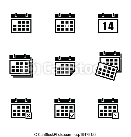 Calendario Dibujo Blanco Y Negro.Calendario Vector Negro Conjunto Iconos