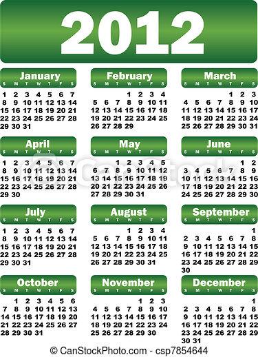 Calendario para el verde 2012 - csp7854644