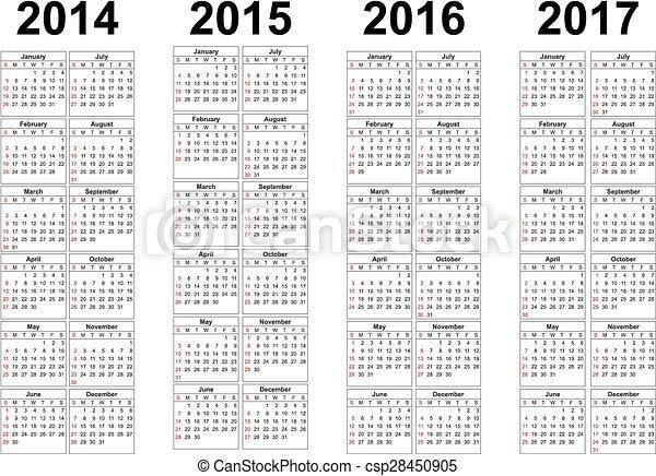 2014, 2015, 2016, 2017 años calendarios vectoriales - csp28450905
