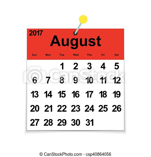Calendrier 2017 Feuille Aout Mois Semaine Dates Feuille Aout